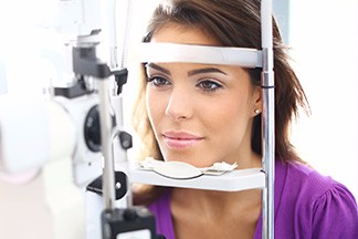 Lady having eye exam